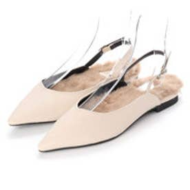 ディファレンス745 レディース ファー パンプス フラットパンプス ストラップ サンダル ポインテッドトゥ ふわふわ 女性 靴 (アイボリー)