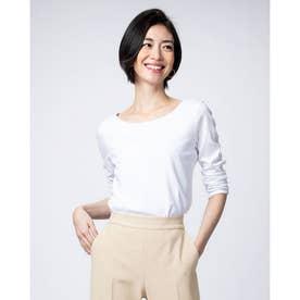 ドゥクラッセTシャツ・深ジュエルネック7分袖 (ホワイト)