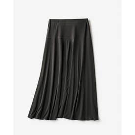 ドレープジャージー・Aラインスカート (チャコール)