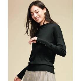 シルクフィール・ボタンデザインセーター (ブラック)
