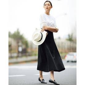 14番リネン・Aラインスカート (ブラック)