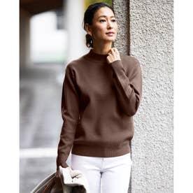 ミラノリブ編み・バックラインセーター (ブラウン)