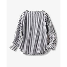 ストレッチ・ボートネックフォルムシャツ (ブラック)