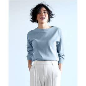 総針編み・ボートネックセーター (ペールブルー)