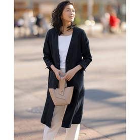 6番麻・ノーカラー羽織りコート (ミッドナイトブルー)