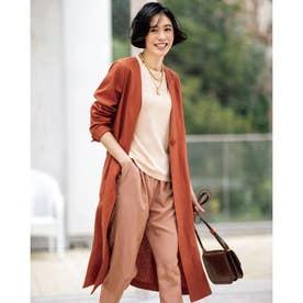 6番麻・ノーカラー羽織りコート (ダルオレンジ)