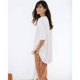 ラウンドフレア/5分袖・ドゥクラッセTシャツ (ホワイト)