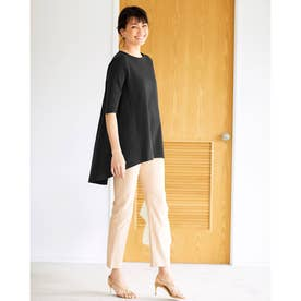ラウンドフレア/5分袖・ドゥクラッセTシャツ (ブラック)