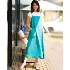 21番リネン・エプロンキャミドレス (ブルーグリーン)