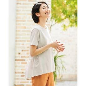 異素材ペプラム/半袖・ドゥクラッセTシャツ (ライトグレー)