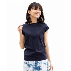 プチハイネック/フレンチ袖・ドゥクラッセTシャツ (ミッドナイトブルー)