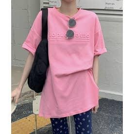 立体ロゴTシャツ (ピンク)