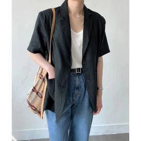 リネンライク半袖ジャケット (ブラック)