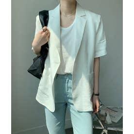 リネンライク半袖ジャケット (ホワイト)