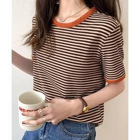 ボーダー半袖Tシャツ (ブラウン)