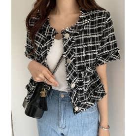 ツイード半袖ジャケット (ブラック)