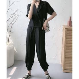 半袖ジャケット+裾リブパンツセットアップ (ブラック)