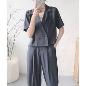 半袖ジャケット+裾リブパンツセットアップ (ダークグレー)