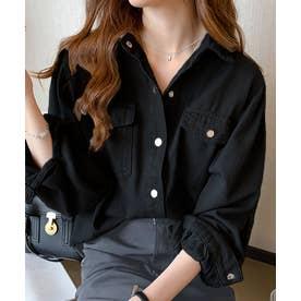 ボリュームスリーブカラーシャツ (ブラック)