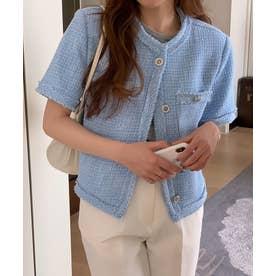 ツイード半袖ジャケット (ブルー)