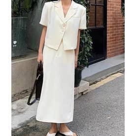 半袖ジャケット+スリットスカート セットアップ (ホワイト)