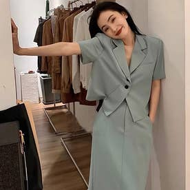 半袖ジャケット+スリットスカート セットアップ (ブルー)
