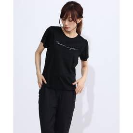 レディース フィットネス 半袖Tシャツ PRINT TEE DC70306 (ブラック)