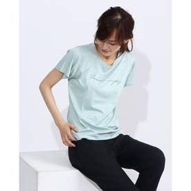 レディース フィットネス 半袖Tシャツ PRINT TEE DC70306 (ブルー)