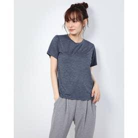 レディース フィットネス 半袖Tシャツ HEATHER LOGO TEE DC70302 (ネイビー)