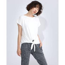 レディース フィットネス 半袖Tシャツ FRONT KNOT TEE DC70241 (ホワイト)