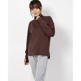 レディース フィットネス 長袖Tシャツ WARM COMFORT TNECK DC50325 (ブラウン)