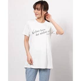 レディース フィットネス 半袖Tシャツ LONGLENGTH PRT-T DC721128 (ホワイト)