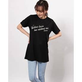 レディース フィットネス 半袖Tシャツ LONGLENGTH PRT-T DC721128 (ブラック)