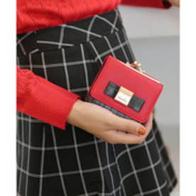 クロコ配色ガマ口財布ミニWALLET (RED×BLK)