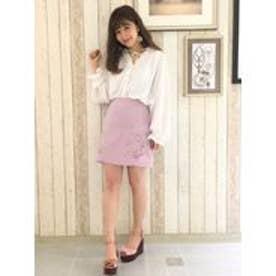 【sw】刺繍台形スカート(ピンク)
