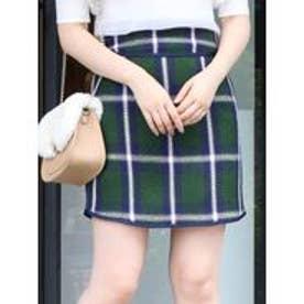 【sw】レトロカラーチェックミニスカート(グリーン)