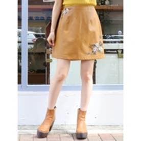 フェイクレザー刺繍台形スカート イエロー