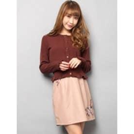 フェイクレザー刺繍台形スカート ピンク