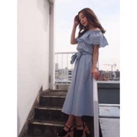 刺繍ギャザーロングスカート ブルー
