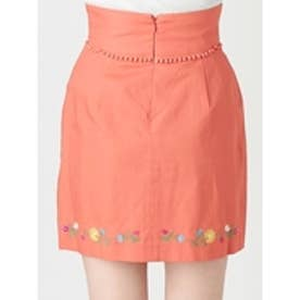 フラワーヘム刺繍ミニスカート オレンジ