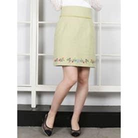 フラワーヘム刺繍ミニスカート ライム