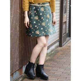 ローズモールジャカード台形スカート グリーン