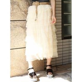 チュール3段スカート アイボリー
