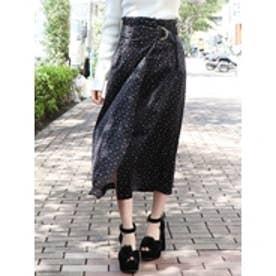 ベロアプリントスカート ブラック