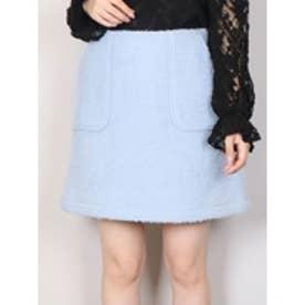ブークレー台形ミニスカート ブルー