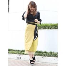 スカーフ付コーデュロイスカート マスタード