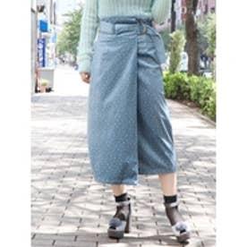 ベロアプリントスカート ブルー