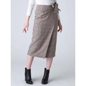 チェックラップスカート ブラウン