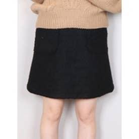 ブークレー台形ミニスカート ブラック