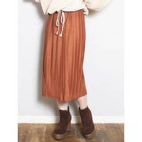 カットプリーツミドルタイトスカート(ブラウン)